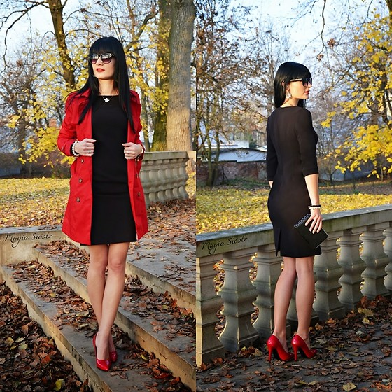 Magia Sióstr - La Malli Black Dress, Camaieu Red Coat - Red heels