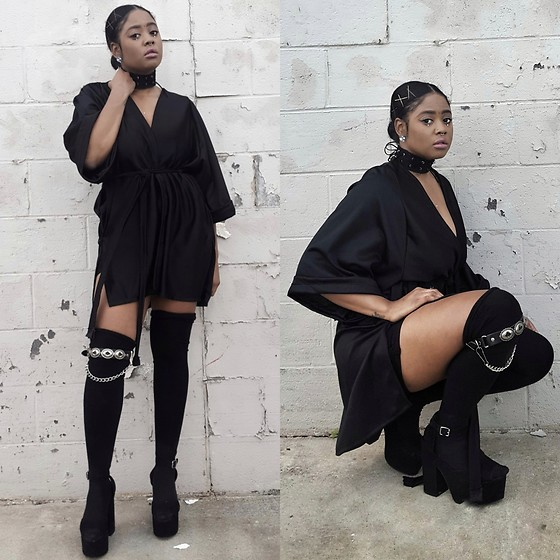 Yasha Aine - H&M Platform Vintage Style Sandals, Yasha Cozy Custom Black Kimono, Search And Destroy Vintage Heavy Metal Leg Harness, Yasha Custom Grommet Chunky Choker - Goddess Warrior