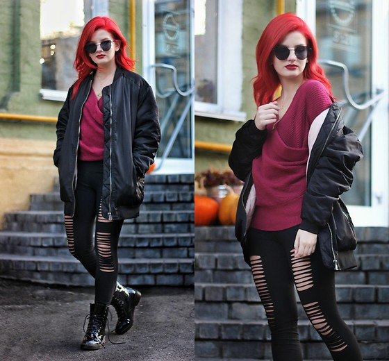 Vlada Kozachyshche - Zaful Sweater, Zaful Leggins, Zaful Necklace, Zaful Sunnies, Zaful Boots, Pull & Bear Outerwear - Sporty a bit