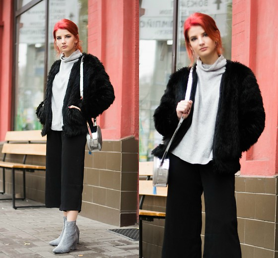 Vlada Kozachyshche - Dresslily Boots, Metisu Pants, Stradivarius Sweater, Topshop Fur Coat, Bershka Bag - Not so Simple