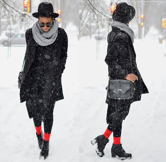 Sushanna M. - Thrifted Black Fedora, Zerouv Oversized Round Black Sunglasses, Double Breasted Black Coat, Bright Red Ankle Socks, Thrifted Black Platform Boots - Dark & Stormy