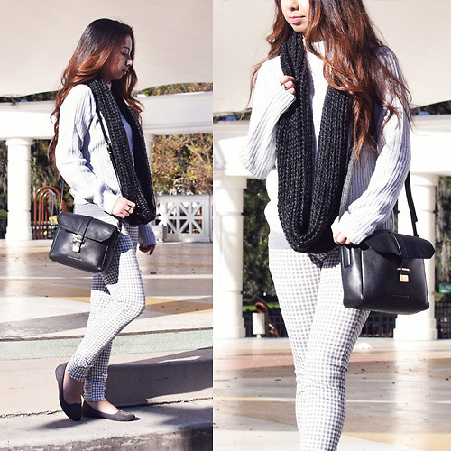 Melanie P. - H&M Pullover, Uniqlo Printed Pants - Light Grey Hues for Winter