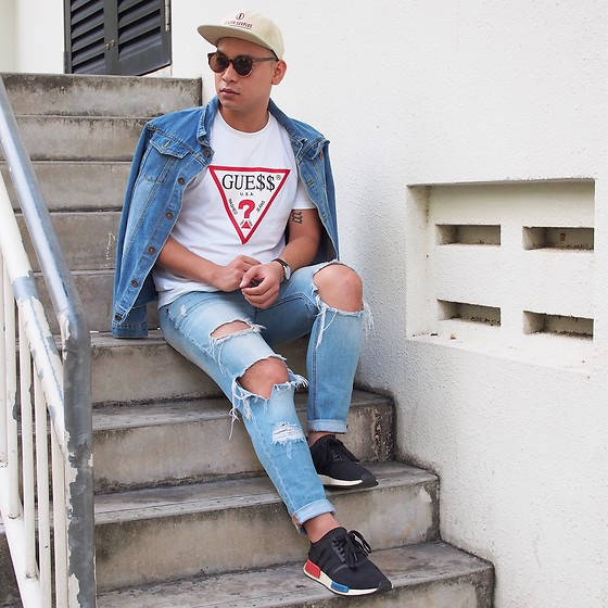 DADA FAB - Asos Cap, Ray Ban Aviator, Levi's® Denim Jacket, Guess Logo Shirt, Topman Tattered Jeans, Adidas Nmd Shoes - Guess What?