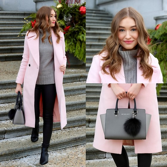 Taylor Doucette - Club Monaco Pink Wool Daylina Coat, Nordstrom Grey Mock Neck Sweater, Vero Moda Black Coated Denim, Michael Kors Selma Colourblock Purse - River - Eminem