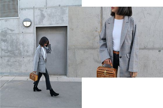 Esther L. - Zaful Oversized Blazer, Vintage Basket, Zara Ankle Boots - OVERSIZED BLAZER