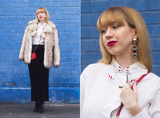 Julia F. - Asos Fur Coat, Asos Earrings, Zaful Face Shirt, Asos Bag, Stradivarius Embroidery Boots - Hello, 2018!
