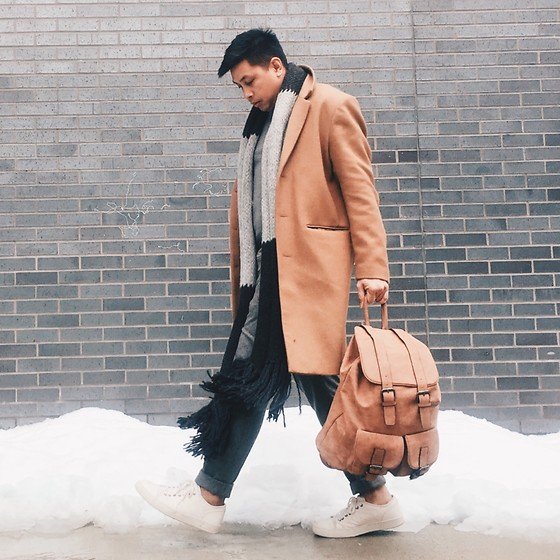 ALLEN M - Call It Spring Leather Backpack, H&M Overcoat, Zara Oversized Scarf, Aldo Shoes - SNOWY DAYS // IG: @iamALLENation