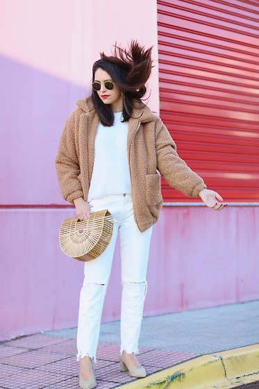 Natalia M - Shein Jacket, Asos White Sweater, Cult Gaia Bamboo Bag, Zara White Jeans, Krack Nude Shoes - THE PERFECT JACKET