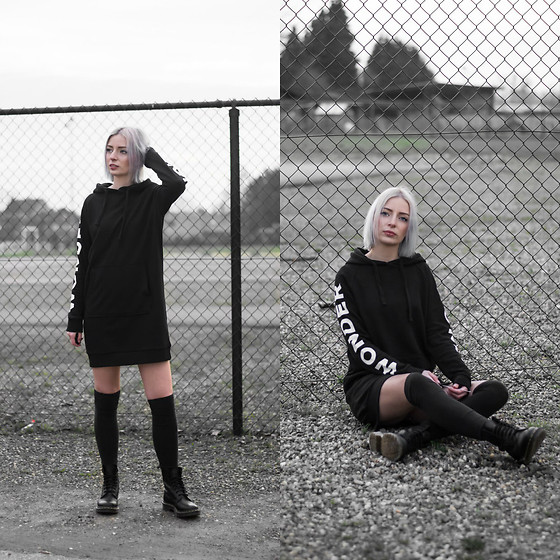 Nena F. - Q/S Designed By Hoodie Dress, Dr. Martens Boots - The hoodie dress