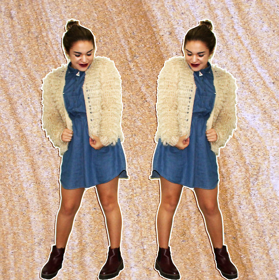 SV - Forever 21 Denim Dress, H&M Chelsea Boots, Mossimo Knit Jacket - Sandstone