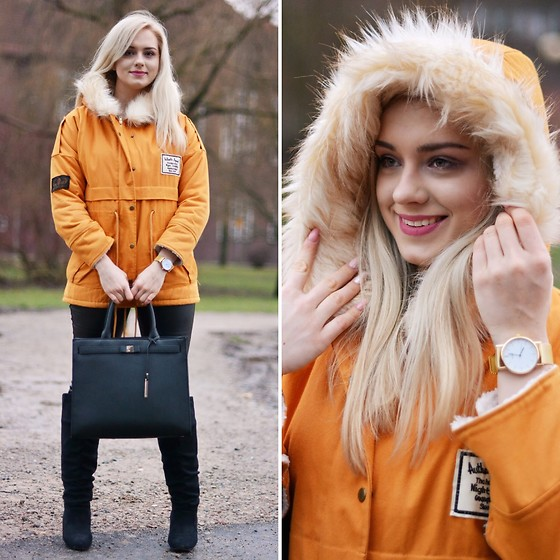 Natalia Piatczyc - Zaful Yellow Parka, Reserved Black Big Shopper Bag, Primark Black Suede Overknee Boots, Dresslily Black Faux Leather Pants, Zaful Gold Watch - Winter look with parka