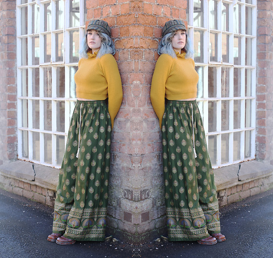 Alex MacEachern - Green Baker Boy Hat, Misspap Mustard Cropped Jumper, Green Wide Leg Print Trousers, Vintage Brown 70s Style Heeled Boots - Loving You Had Consequences.
