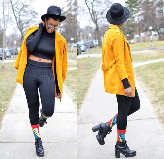 Sushanna M. - Thrifted Black Fedora, Tobi Black Long Sleeved Crop Top, Tobi Black High Waisted Leggings, Thrifted Black Platform Boots - The Last Straw
