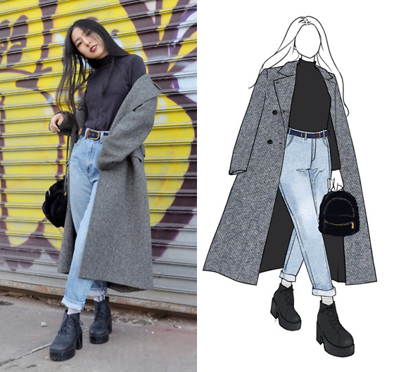 Yonish - Thrifted Gray Long Overcoat, Thrifted High Waisted Mom Jeans - 90s Look