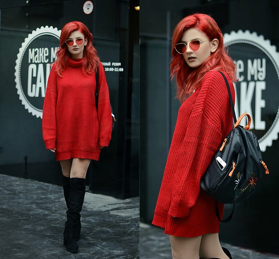 Vlada Kozachyshche - Zaful Sweater, Zaful Backpack, House Boots - Red and Oversized