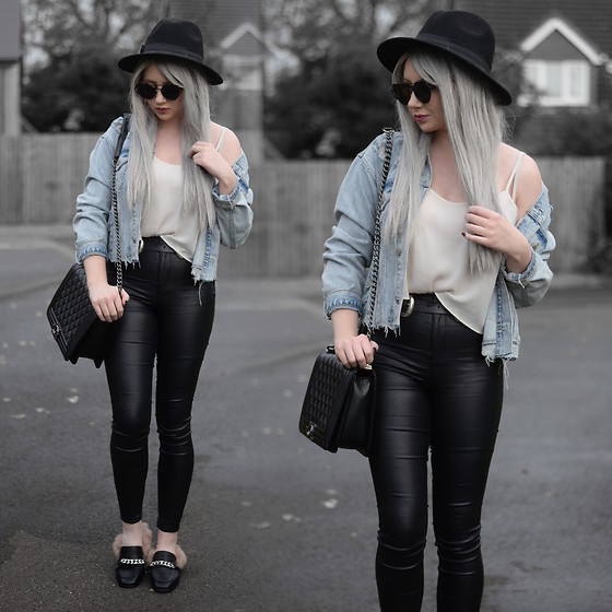 Sammi Jackson - Primark Black Fedora, Zaful Sunglasses, Primark Denim Jacket, Topshop Cream Cami, Choies Double Buckled Belt, Oasap Quilted Flap Bag, Primark Satin Jeans, Fashion 71 Fur Slippers - DENIM JACKET