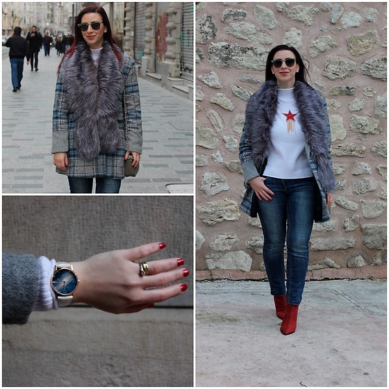 Rebel Takipte - Vipshop Plaid Coat, Jolly Chic White Sweater, Ami Club Wear Watch, Lovelywholesale Fur Scarf, Rosegal Boots - Plaid Coat