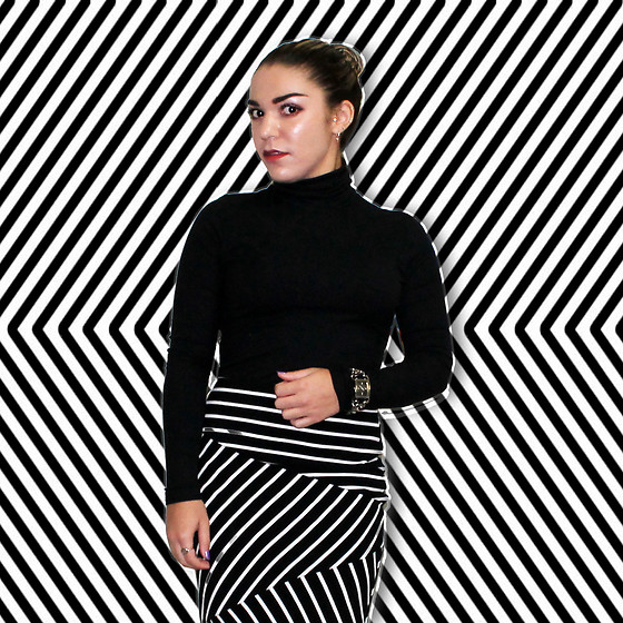 SV - American Apparel Black Turtleneck, Target Black And White Skirt - Illusions