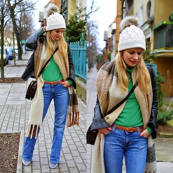 Kamila Libelula - United Colors Of Benetton Golf, Lee Jeans - FEBRUARY LOOK WITH WINTER CAP AND SCARF