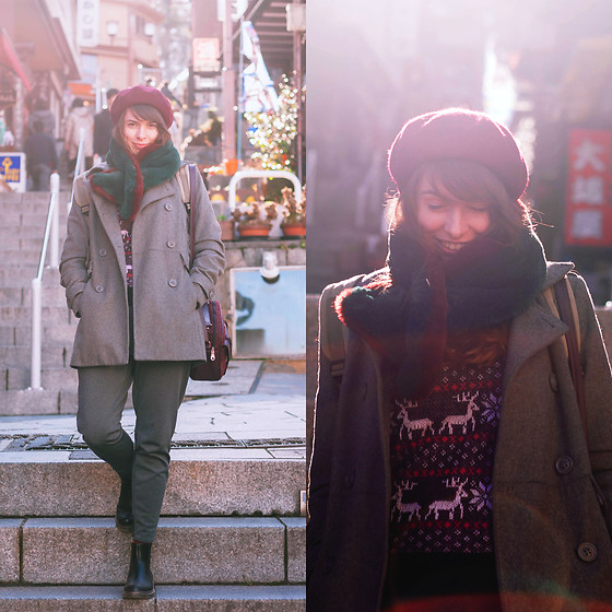 Ana B - Pull & Bear Coat, Uniqlo Pants - Ikaho Stone Step Street