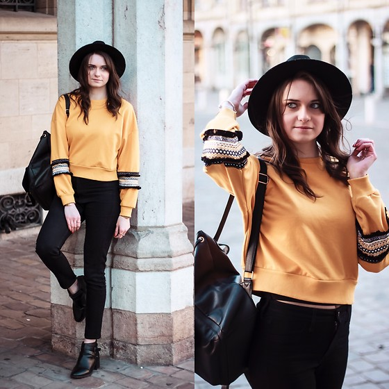 Audrey - New Look Sweater, Pimkie Hat, H&M Jeans, Primark Bag - Yellow