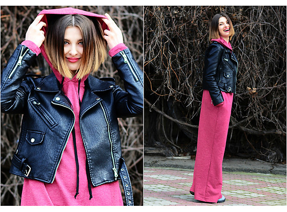 Malinina-ek - - Zaful Jacket, Romwe Dress - Black & dark pink