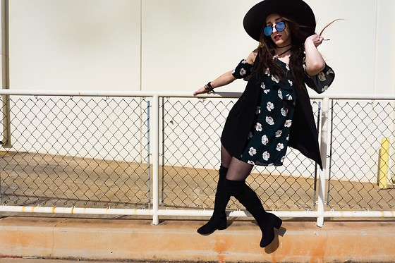 Carly Phillips - J.O.A. Dress, Bcbg Hat, Bcbg Vest, Quay Kandy Gram - WIND BLOWN