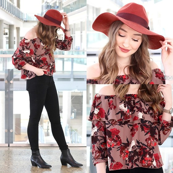 Taylor Doucette - Aritzia Off The Shoulder Ruffle Top, H&M Burnt Orange Fedora Hat, Citizens Of Humanity Black Skinny Jeans, Sam Edelman Black Leather Booties - Late For the Sky - Luke Sital-Singh