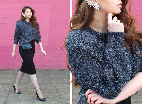 OH ANNE Westphal -  - GLITTER PULLOVER, MIDI PENCIL SKIRT & HIGH HEELS