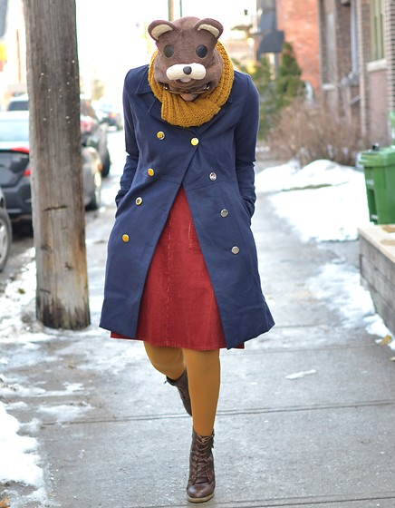 Sushanna M. - Thrifted Brown Bear Hat, Navy Double Breasted Duster Coat, Thrifted Vintage Rust Orange Corduroy Skirt, Thrifted Brown Ankle Boots - Brown Bear, Brown Bear, What Do You See?