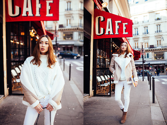 Linh Minouderie - Missguided Knitwear, New Look Coat, Delcambe Boots, Mango Pants - Winter white outfit
