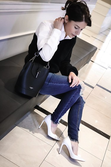 Isabel Alexander - American Eagle Outfitters Ae Blue Denim, Nine West White Tatiana Classic Pumps, Camelia Roma Black Chic Mini Backpack - One Shoulder Sweater