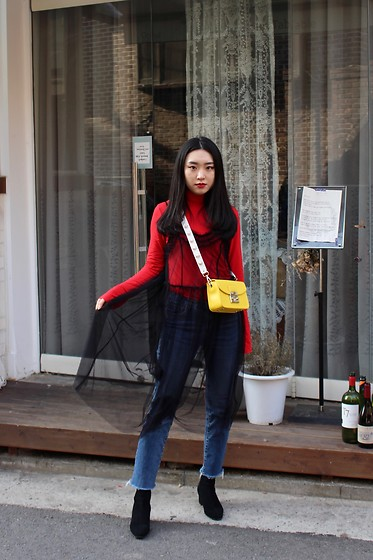 Seoha Park -  - A RED TURTLENECK AND H&M MESH DRESS