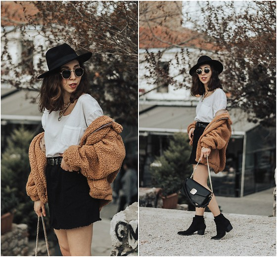 factory outlet outlet store good Theoni Argyropoulou - Zaful Denim Skirt, Teddy Bear Jacket, White ...