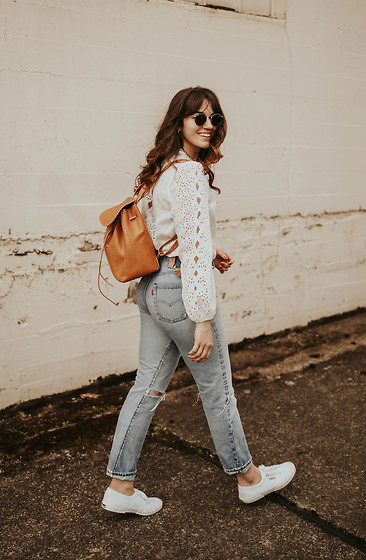 Tonya S. - Shopbop Zimmermann Lace Top, Vintage Levi's, Superga Sneakers - Lace & Denim