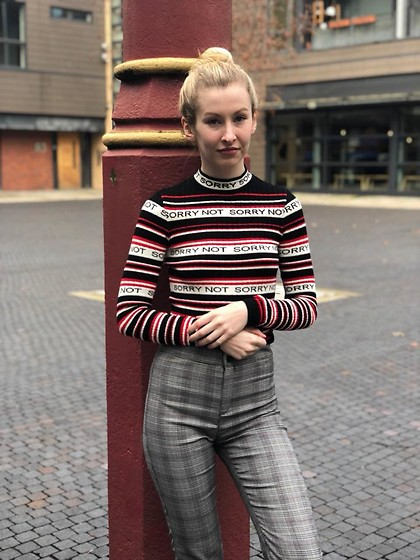 Bec Oakes - Striped Jumper, Check Trousers - Sorry, Not Sorry