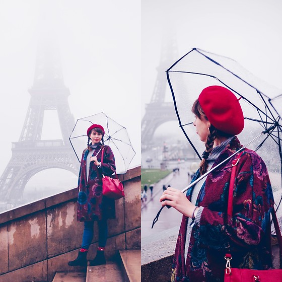 Ana B - Freegia Floral Coat, Bershka Jeans - Rainy Day in Paris