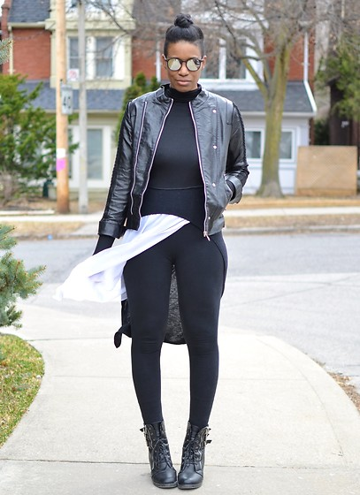 Sushanna M. - Zerouv Silver Mirror Lens Sunglasses, Thrifted Black Faux Leather Jacket, Tobi Black Long Sleeved Crop Top, Black Sleeveless High Low Top, Thrifted White Sleeveless Asymmetrical Dress, Black High Waisted Leggings, Black Zipper Boots - Look Around, I'm Beamin'