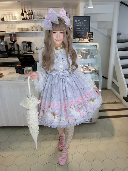 Melva Yan - Angelic Pretty Romantic Cat, Baby, The Stars Shine Bright レーシィレースアップソックス/Lacy Lace Up Socks, Angelic Pretty Pink, Baby, The Stars Shine Bright Sa・Ku・Ra色のtea Timeブラウス - Romantic Cat