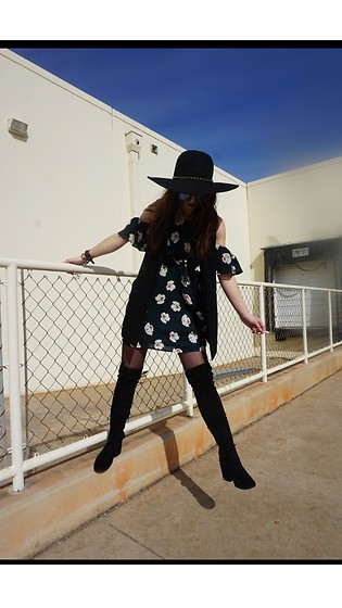 "Carly Phillips - J.O.A. Dress, Bcbg Wide Brimmed Hat, Dv By Dolce Vita Boots, Bcbg Vest - ""You better treat me like church."""