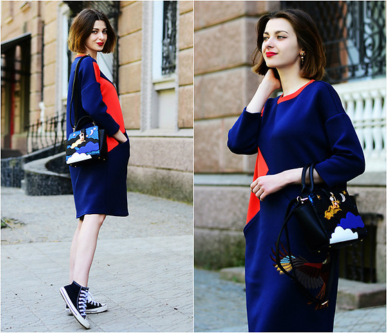 Malinina-ek - - Vipshop Dress, Newchic Bag - Blue & orange