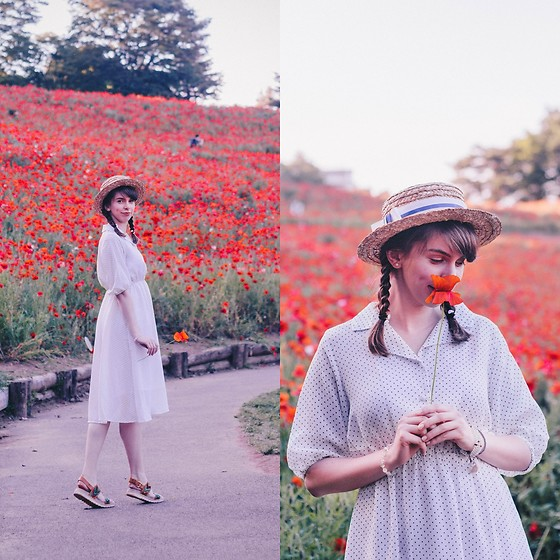 Ana B - Freegia Dress, Bata Sandals, Boater Hat - Les Coquelicots