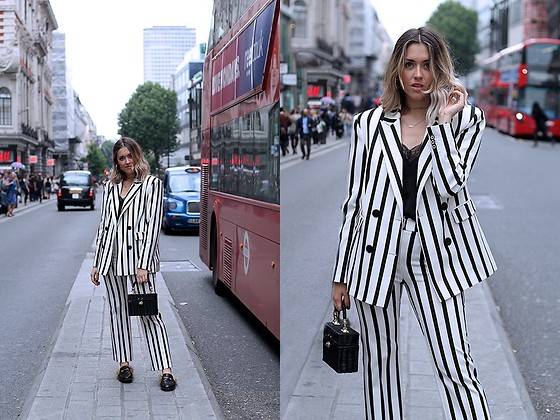 Amy Ramírez - Mango Jacket, Mango Trousers, Zara Bag, Gucci Shoes - Black and white stripes