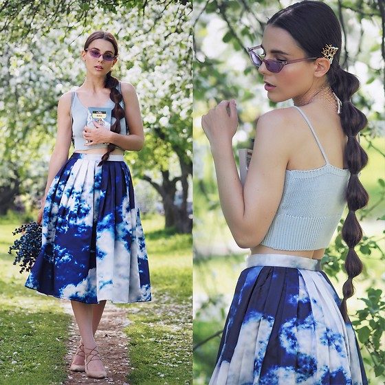 Yana P - Chic Wish Sky Print Skirt, Top, Sunglasses - ☁️ Sky Print ☁️