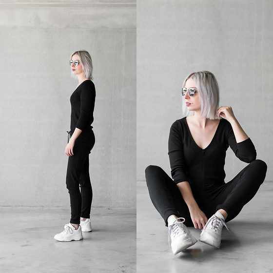 Nena F. - Zara Jumpsuit - Jumpsuit + dad sneakers