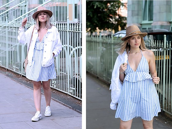 Amy Ramírez - Shein Dress, Pull & Bear Jacket - Summer stripes