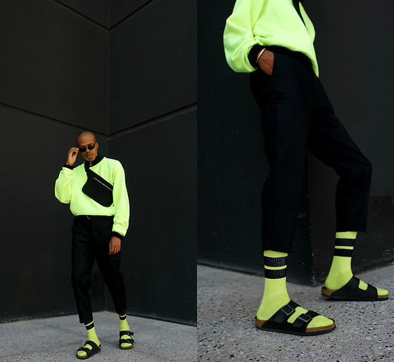 Dominic Grizzelle - Urban Outfitters Neon Athletic Socks, Urban Outfitters Cropped Tousers, Hanes Neon Crewneck, Zerouv Matrix Sunnies, Birkenstock Birkesnstock - Glow n the Dark