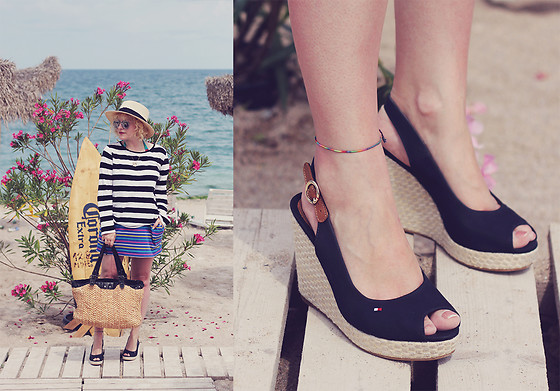 Anca Varsandan - Tommy Hilfiger Platforms, Mango Top, Zara Straw Bag, New Yorker Skirt - Life's a Beach