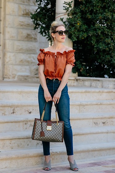 Meagan Brandon - Similar Top, Sunglasses, Denim (Under $60), Gucci Bag, Mules - Summer Outfit with Fall Vibes