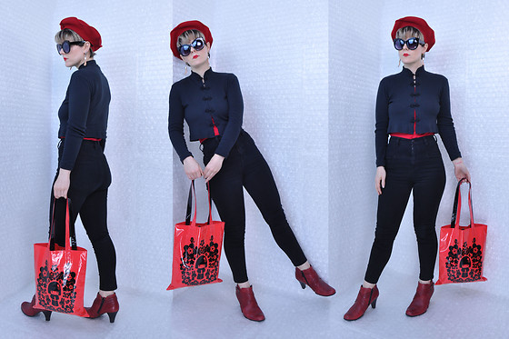 Suzi West - Estate Sale Vintage French Beret, Grease Rags Clothing Company Sunglasses, Suzi West Model Barbie Hand Earrings, Free People Mandarin Style Cardigan, Express Red Tank, Bdg High Waisted Skinny Jeans, Momiji Peskimo Vinyl Bag, Born Concepts Booties - 12 November 2017